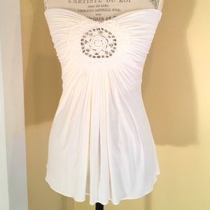 SKY Strapless Top with Crochet detail